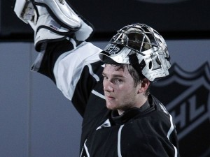 Kings goalie Jonathan Quick celebrates his shutout win over the Vancouver Canucks in Game 3
