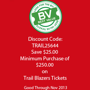 Save $25.00 On Trail Blazers Tickets
