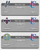 Upcoming Clippers Games