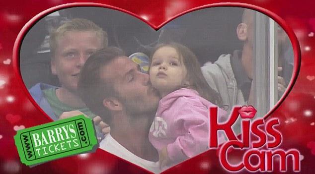 Beckham & Daughter Kiss Cam