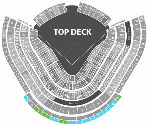 Dodger Stadium seating chart top deck