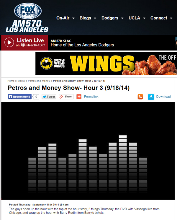 Barry's Tickets on Petros and Money Show