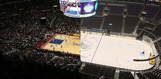 Staples Center switch from basketball court to hockey rink