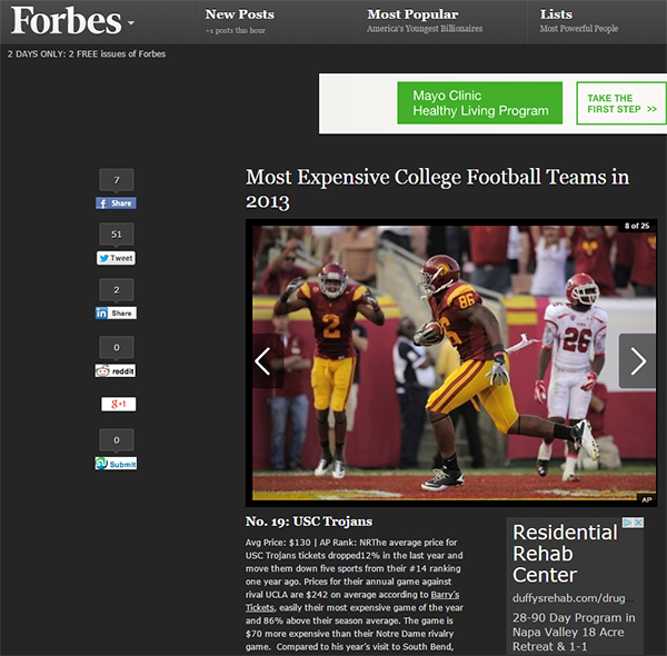 Barry's Tickets on USC Trojans ticket prices