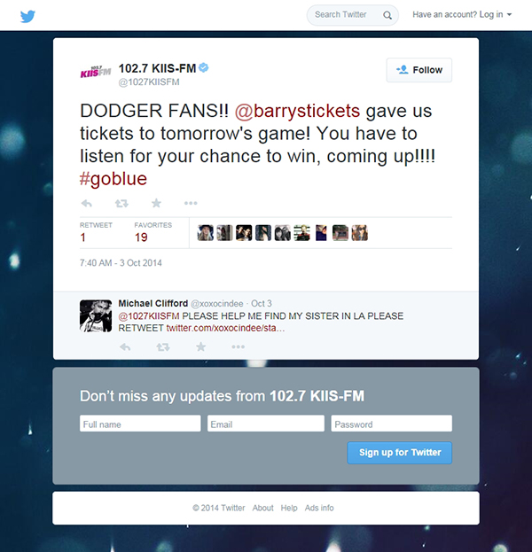 LA Dodgers Tickets giveaway KIIS FM Barry's Tickets