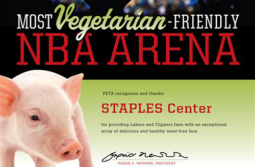 PETA Staples Center Award