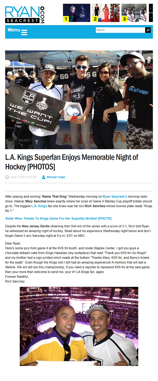 Barry's tickets works with ryan seacrest charity la kings tickets super fan