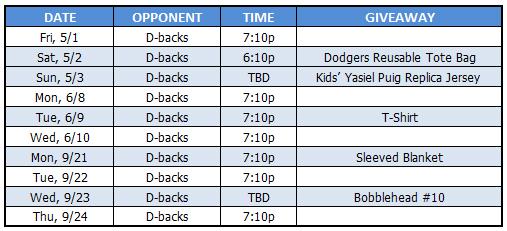 Dodgers vs Diamondbacks Tickets