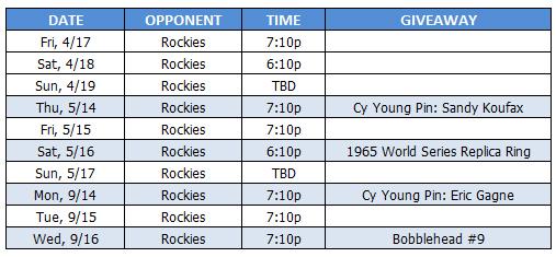 Dodgers vs Rockies Tickets