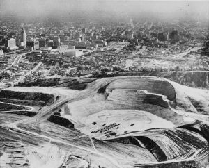 Chavez Ravine excavated to make Dodger Stadium