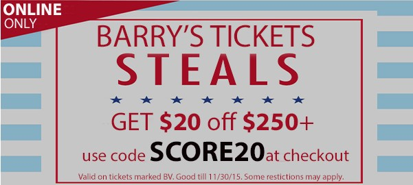 Barrystickets.com Discount Code