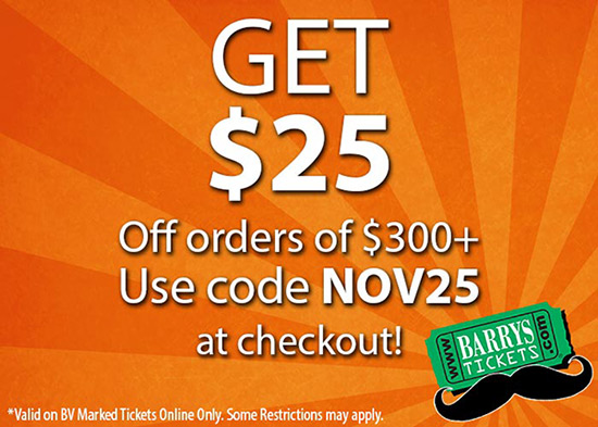 Barrys Tickets November Savings