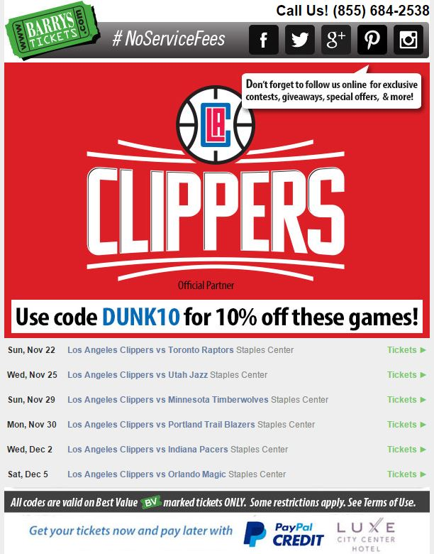 Clippers Tickets Discount Code