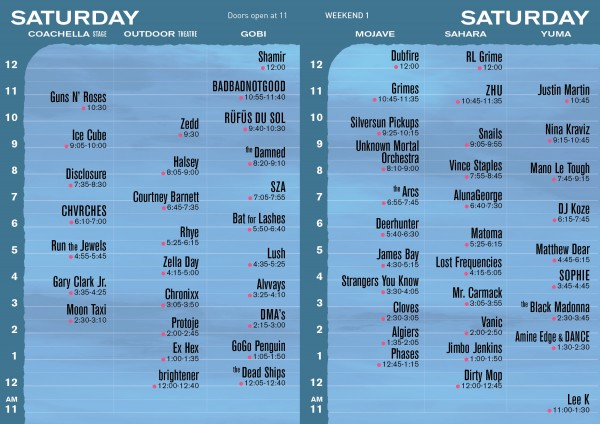 Coachella Set Times Saturday