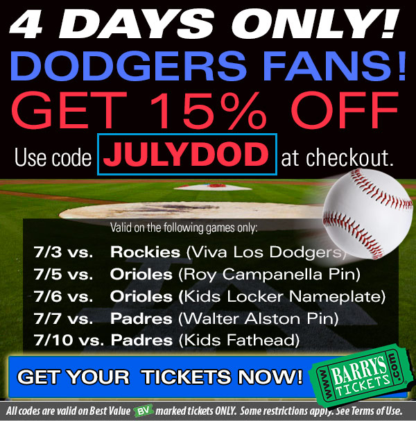 Dodgers Tickets Discount Code July