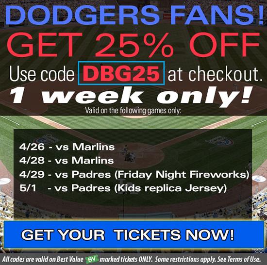 LA Dodgers tickets discount code