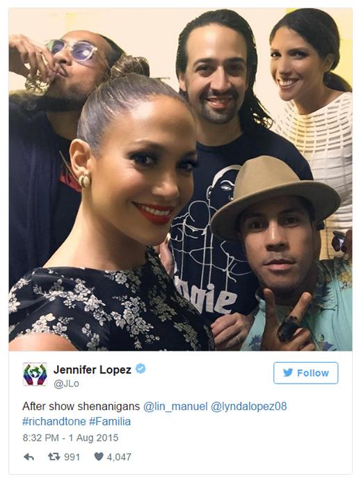 Jennifer Lopez at Hamilton the Musical