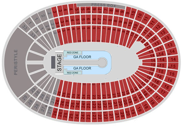 u2 seating chart la coliseum
