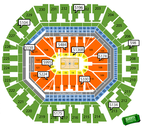 golden state warriors seating chart with prices