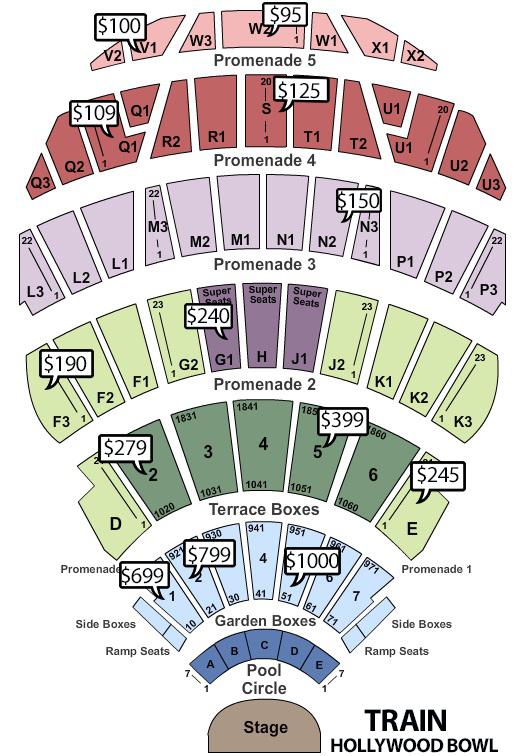 train hollywood bowl seating chart