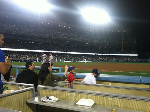 Dodger Stadium baseline seats