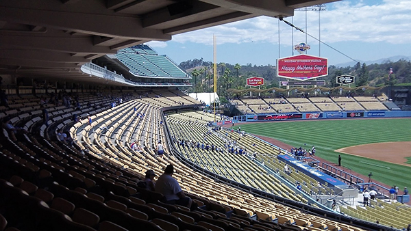 Shaded loge level Dodger Stadium