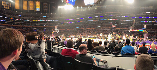 What Section is behind the Lakers Bench at Staples Center?