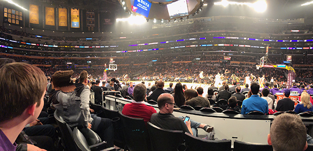 Staples Center section 119 Lakers team bench