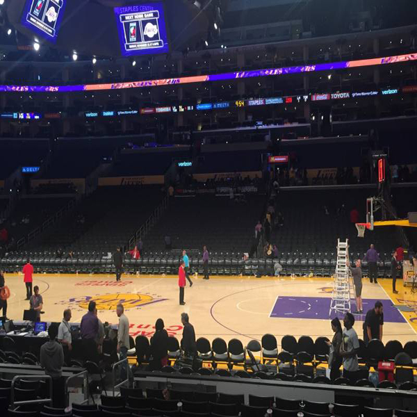 Staples Center behind Lakers bench section 119.