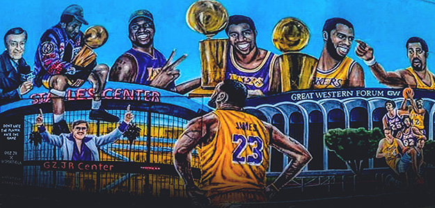 Los Angeles Lakers history greatest players mural by Gustavo Zermeno Jr